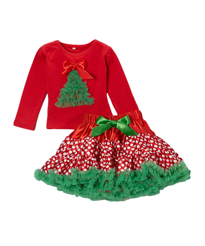 Red Christmas Tree Top & Pettiskirt Set