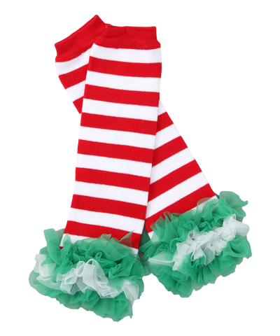 Red & Green Christmas Ruffle Leg Warmers