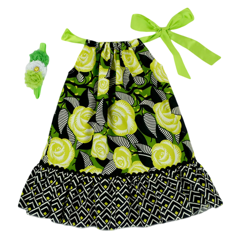 Green & Black Floral Pillowcase Dress & Headband