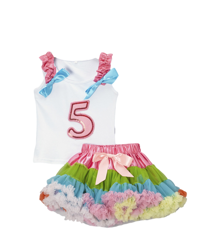 Five 5 Birthday Pettiskirt & Tank Tutu Set