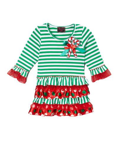 Christmas Candy Cane Multi Print Dress