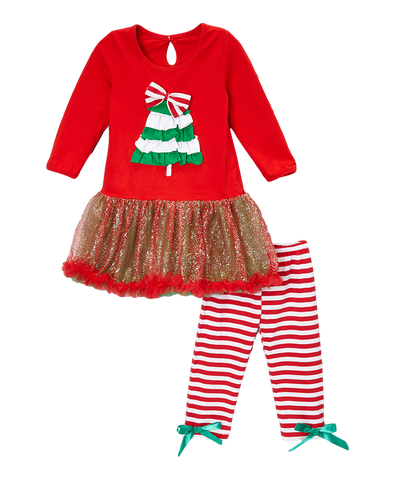 Christmas Tree Pant & Skirted Top Set