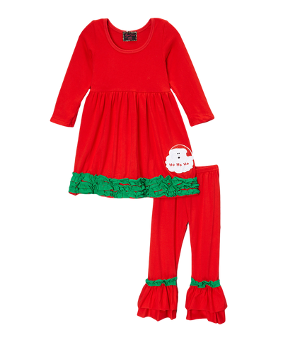 Red & Green Ruffled Santa Christmas Pant & Top Set
