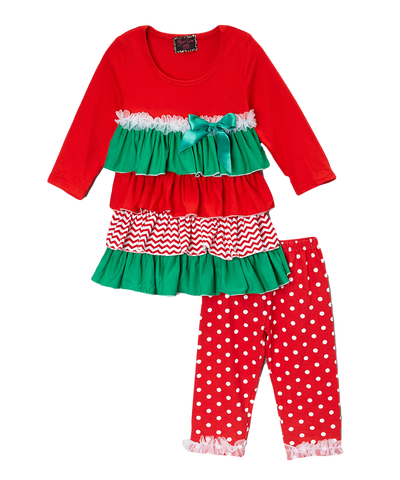 Red & Green Ruffled Chevron Print Christmas Pant & Top Set