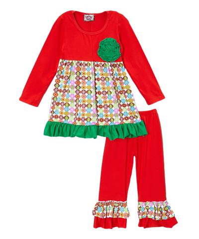 Multi Print Rosette Red & Green Ruffled Christmas Pant & Top Set