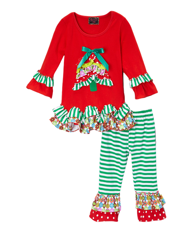 Ruffled Christmas Pant & Top Multi Print Set