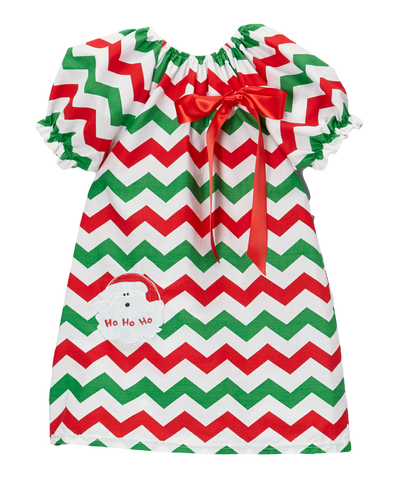 Red & Green Santa Christmas Chevron Cap Sleeve Shift Dress