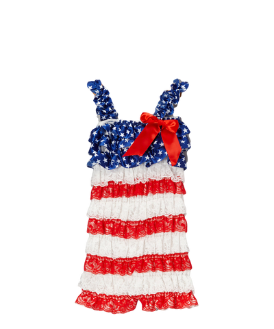 Red & Blue USA Flag Ruffle Romper