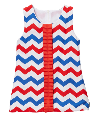 Red & Blue Chevron Ruffled Ribbon Shift Dress