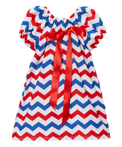 Red & Blue Chevron Cap Sleeve Shift Dress