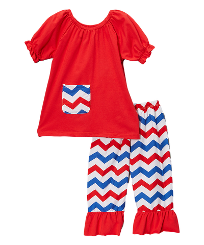 Red & Blue Chevron Capri & Top Set