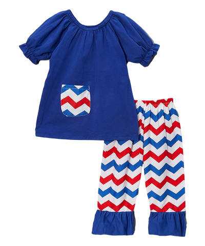 4th of July Blue & Red Chevron Capri & Top Set