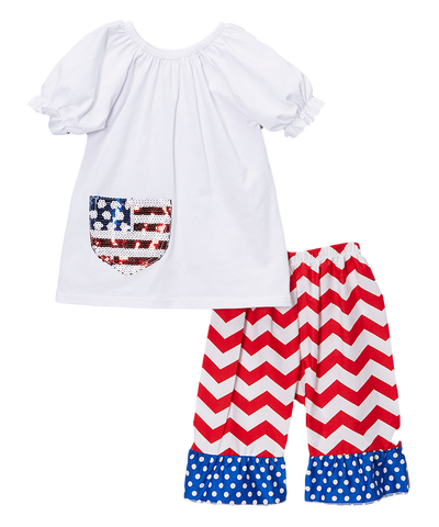 Patriotic Blue & Red Chevron Capri & Top Set