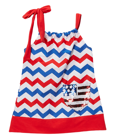 Pillowcase Red & Blue Chevron Flag Dress