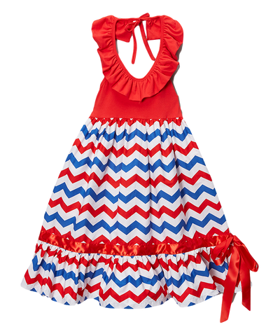 Red & Blue Chevron 4th of July Maxi Dress