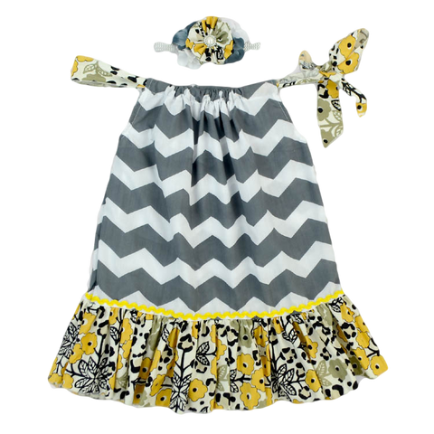 Grey & Yellow Chevron Floral Pillowcase Dress & Headband