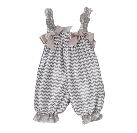Grey Chevron Satin Playsuit