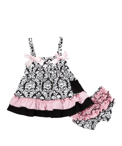 Black Damask w/ Light Pink Swing Top & Diaper Cover Set