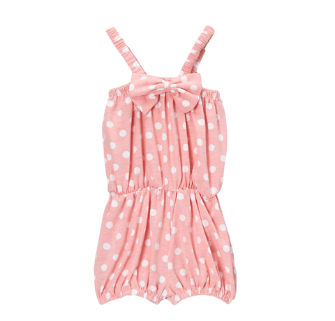 Light Pink Dot Cinched Waist Romper