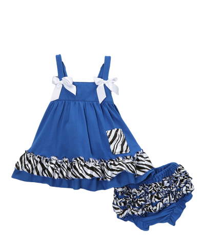 Royal Blue Zebra Swing Top & Diaper Cover Set