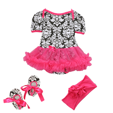 Pink & Black Damask Skirted Bodysuit Set Headband & Booties