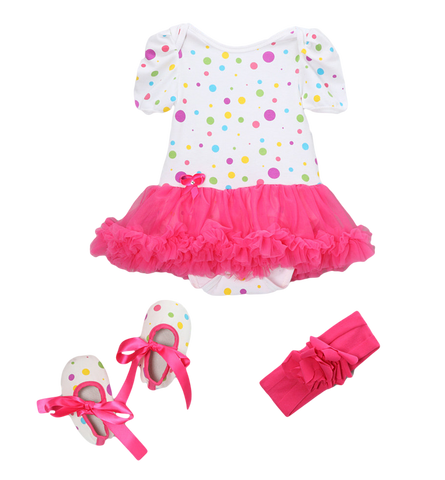 Hot Pink Clown Dots Skirted Bodysuit Set Headband & Booties