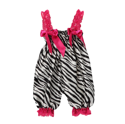 Pink Zebra Satin Playsuit