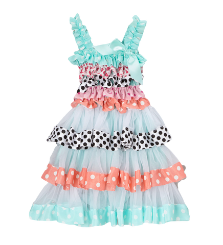 Muti Print Satin & Chiffon Flower Girl Tiered Dress