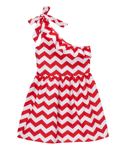Red One- Shoulder Chevron Shift Dress