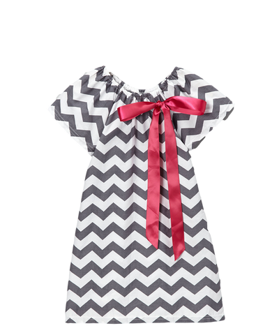 Grey & Pink Chevron Cap Sleeve Shift Dress