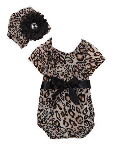Brown Cheetah Onsie Bodysuit & Beanie