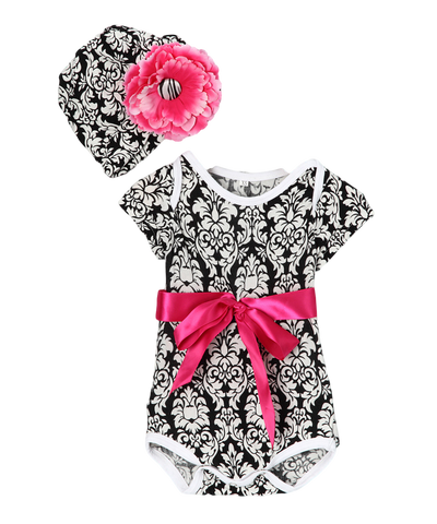 Hot Pink & Black Damask Onsie Bodysuit & Beanie