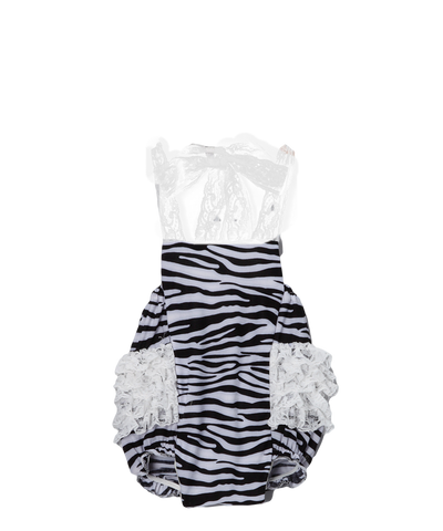 Black Zebra Ruffle Bubble Romper