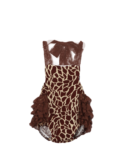 Brown Giraffe Ruffle Bubble Romper