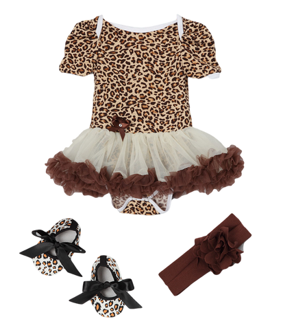 Brown Cheetah Skirted Bodysuit Set Headband & Booties