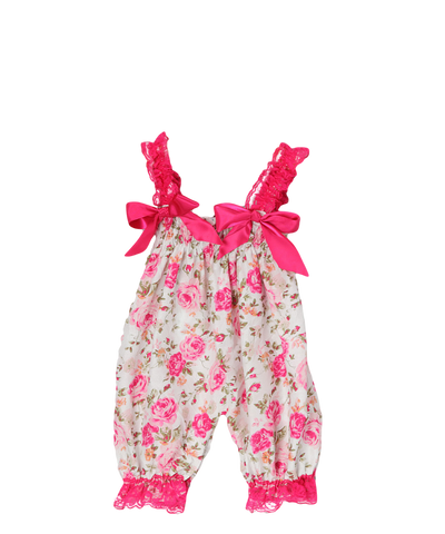 Pink Floral Satin Playsuit