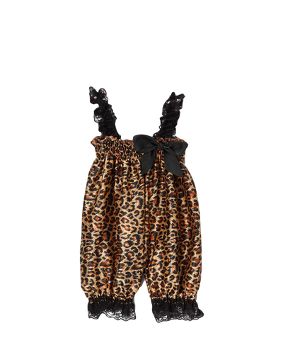 Brown Cheetah Satin Playsuit