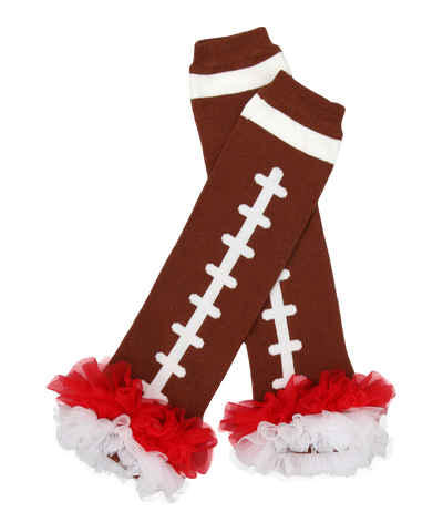 Red Ruffle Football Ruffle Leg Warmers