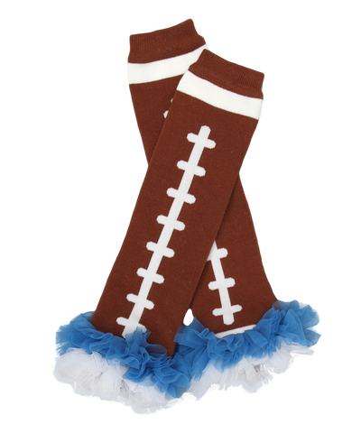 Blue Ruffle Football Ruffle Leg Warmers
