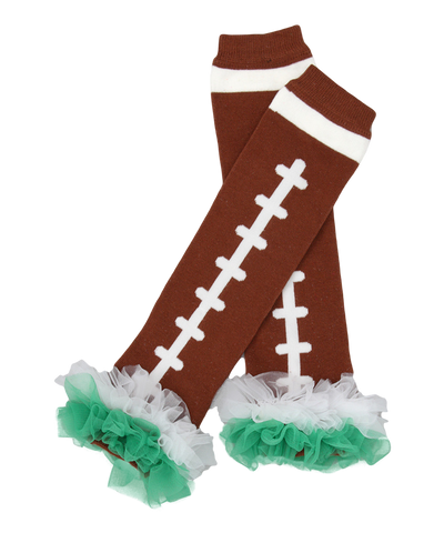 Green Ruffle Football Ruffle Leg Warmers