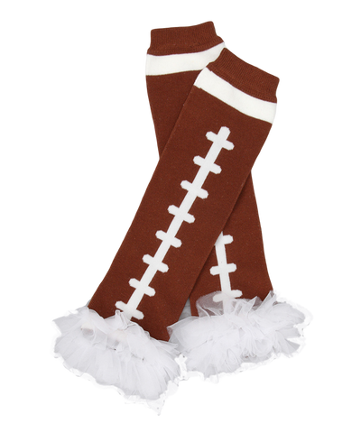 White Ruffle Football Ruffle Leg Warmers
