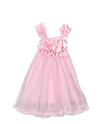 Pink Satin & Chiffon Capsleeve Babydoll Flower Girls Dress