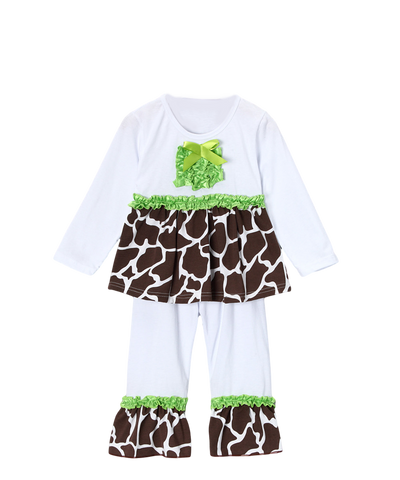 Brown & Green Giraffe Ruffle Pant & Top Set