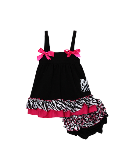 Black Zebra Swing Top & Diaper Cover Set