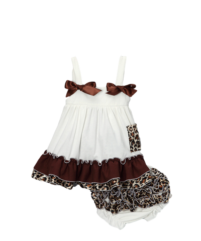 Ivory Cheetah Swing Top & Diaper Cover Set