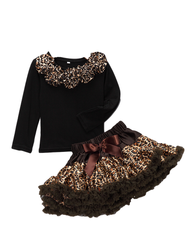 Brown Cheetah Top & Pettiskirt Set