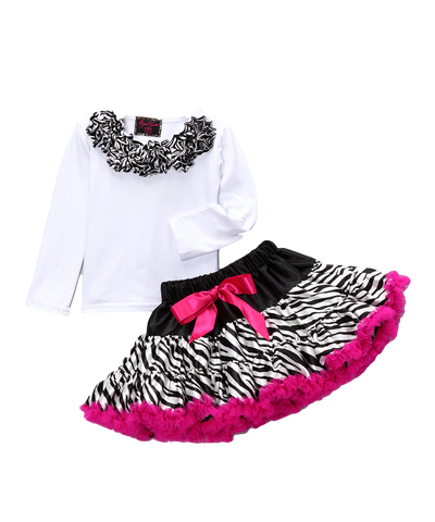 Pink Zebra Top & Pettiskirt Set