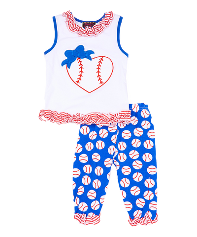 Red and BlueHeart Tank Top & Ruffle Leggings Set