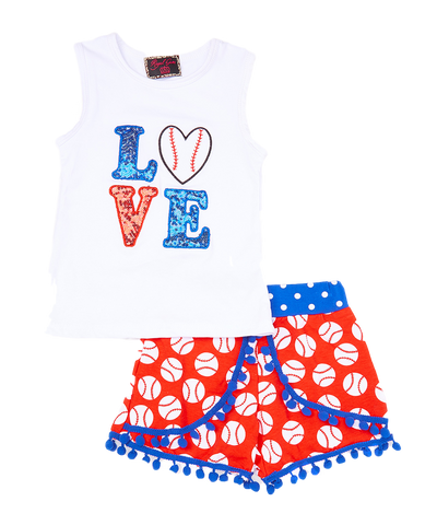 Baseball Love Tank Top & Short Set