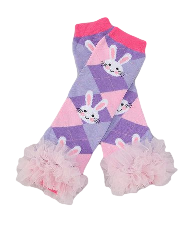 Purple Easter Bunny Ruffle Leg Warmers